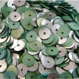 Paillette 6 mm vert tendre et argent