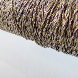 Assemblage de fils métallisés or argent et violet