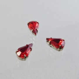 Strass goutte rouge 10 mm