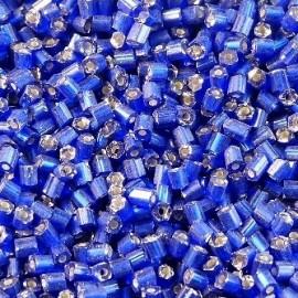 Demi tube facetté bleu roi 2 mm