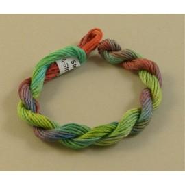 coton mouliné du vert au rouge clair