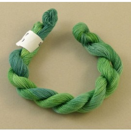 Coton perlé du bleu au vert tendre changeant