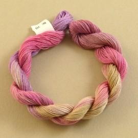 Coton perlé changeant du vert clair au rose