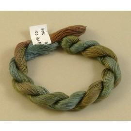 Coton mercerisé fin vert brun gris