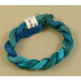 Coton mercerisé fin turquoise changeant
