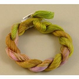 Coton mercerisé fin olivine et rose