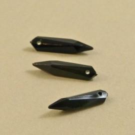 Goutte ancienne noire facettée 20 mm