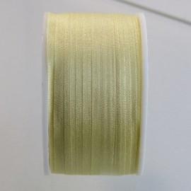 Ruban soie 7 mm jaune pâle