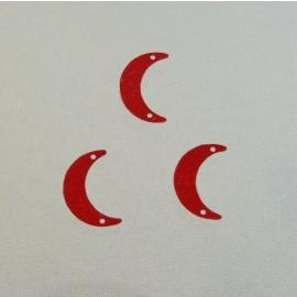 Sequin ancien lune 15 mm rouge
