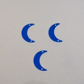 Sequin ancien lune 15 mm bleu