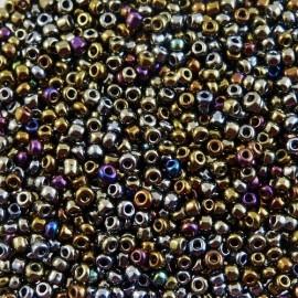Rocaille 2 mm brun métallisé irisé