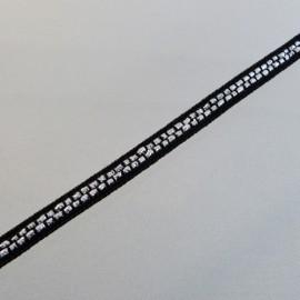 Galon noir et argent 6 mm
