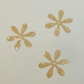 Paillette ancienne fleur 22 mm craquelée beige
