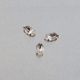 Strass navette cristal serti argent 8 mm