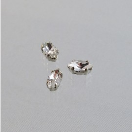 Strass navette cristal serti argent 10 mm
