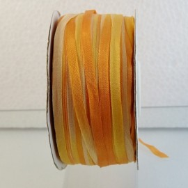Ruban soie 4 mm jaune orangé changeant