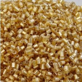 Demi tube facetté 2 mm or clair