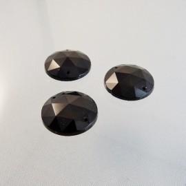 Pierre à coudre ronde 20 mm facettée noire
