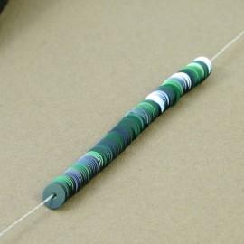 Paillette 4 mm vert malachite irisé sur fil
