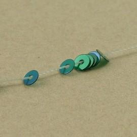 Paillette 3 mm vert malachite irisée sur fil