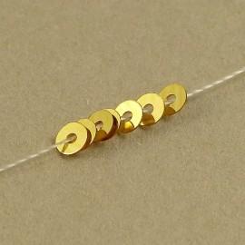Paillette 3 mm or cuivré brillant sur fil