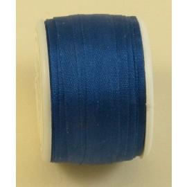 Ruban soie 7 mm bleu de prusse