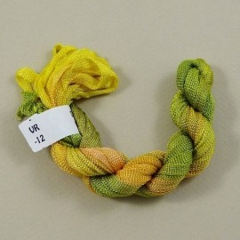 Ruban viscose changeant jaune, orange et vert