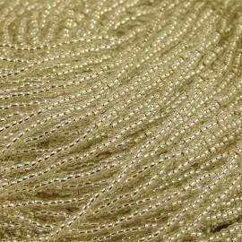 Rocaille 2 mm sur fil cristal coeur argent