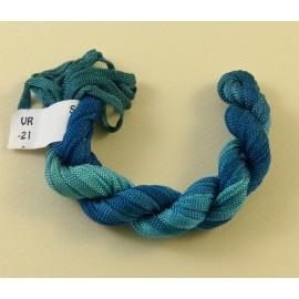 Ruban viscose bleu à turquoise changeant