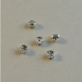 Strass à coudre cristal serti argent 4 mm