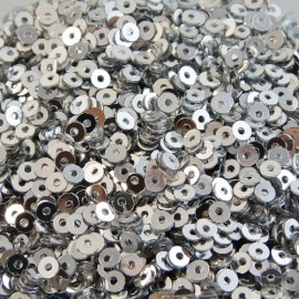 Flat sequin 2 mm metallic silver