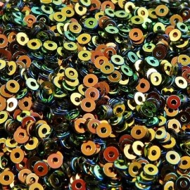 Flat sequin 2 mm orange and green