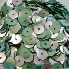 Sequin 6 mm soft green and silver