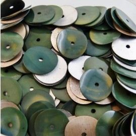 Flat sequin 10 mm forest green and silver