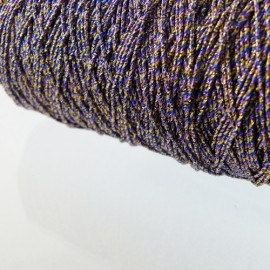 Metallized threads purple, gold and navy blue