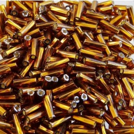 Twist bugle bead 6 mm S/L golden bronze