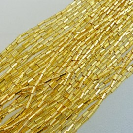 Bugle beads 4 mm facetted dark gold on strand