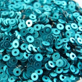 Flat sequin 2 mm blue green satin finished