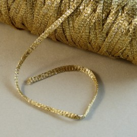 Viscose ribbon 3 mm light gold with sparkle gold
