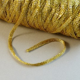 Viscose ribbon 3 mm yellow gold with sparkle gold