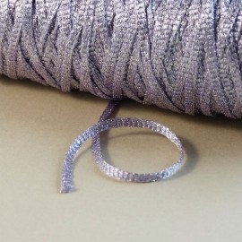 Viscose ribbon 3 mm parma with sparkle silver