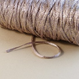 Viscose ribbon 3 mm dusty pink with sparkle gold