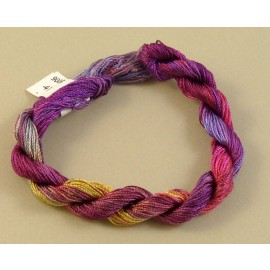 Fine perlé rayon from purple to yellow