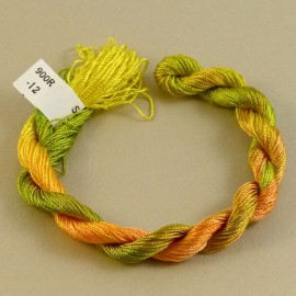 Fine perlé rayon yellow orange and green