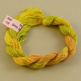 Spun silk with flames yellow orange and green