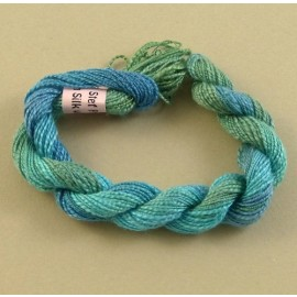 Spun silk with flames turquoise color-changing