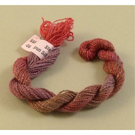 Spun silk with flames from brown to red