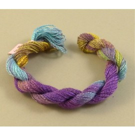 Spun silk with flames blue green and purple