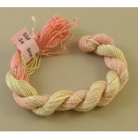 Spun silk with flames from ivory to light pink