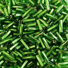 Twist bugle bead 6 mm S/L green